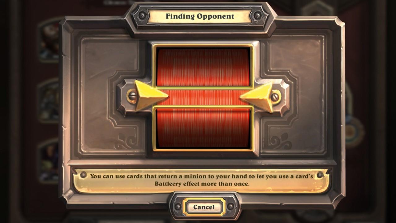 """Una pantalla muestra el texto """"Finding Opponent"""" con un botón cancelar"""
