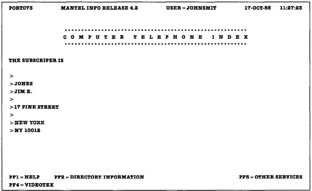 Interfaz monocroma en modo texto del concurso de evaluación de usabilidad.