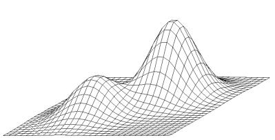 Una representación tridimensional muestra dos picos parecidos a montañas, uno más bajo a la izquierda y otro más alto a la derecha.